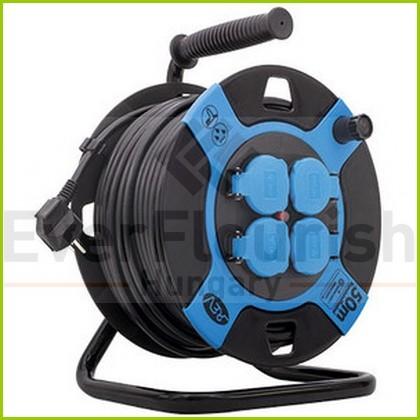 Kábeldob, kültéri, műanyag, 50m, 4 dugalj H05VV-F 3X1.5 0010118812