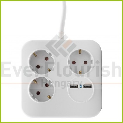 """Asztali elosztó """"PowerQuad"""" 3-as, 1.4m, 2db USB-vel, fehér 0012378109"""