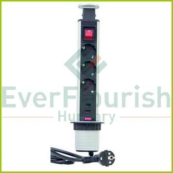Energiaoszlop asztali, süllyeszthető 3 dugalj+USB kapcs 0012398712