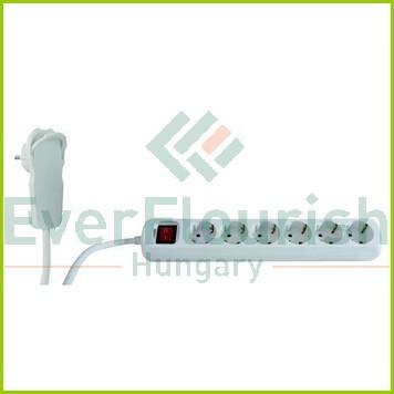 Asztali elosztó 6-os kapcsolóval, 2m, fehér, lapos dugóval 0012626114