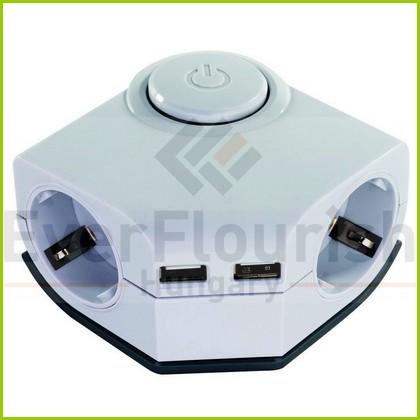 Asztali elosztó 2-es kapcsolóval, 1.5m fehér 2xUSB töltővel 0015400103
