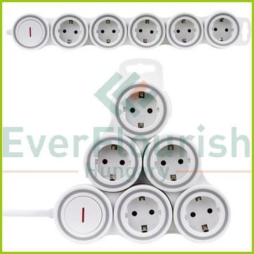 """Asztali elosztó """"Supraflex"""" 5-ös kapcsolóval, 1.4m, fehér 0015520115"""