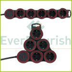 """Multiple socket outlet """"Supraflex"""" 5ways with switch, 3G1.5mm², 1.4m, anthracite 0015520515"""