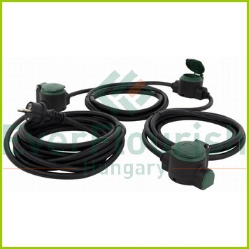 """Extension cable with 3socket outlet """"Supraflex"""" 10m, H05RR-F3G1.5mm², IP44, black-green 0017103512"""