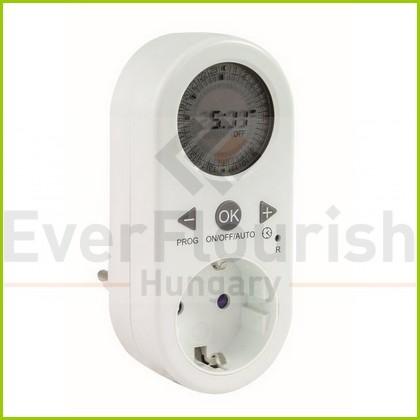 Időkapcsoló, digitális, napi, kerek LCD kijelzővel, fehér 0025030102