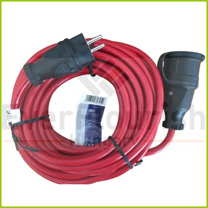 Extension cable with flap 10m 3x1.5 red IP44 006316