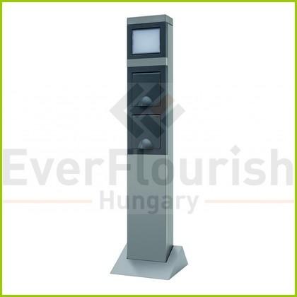 Kerti energiaoszlop 2 dugaljjal + lámpával, ezüst 0087750712