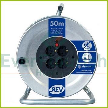 Kábeldob, fém 50m 4 dugalj, 3x1.5 H05VV-F IP20 008839