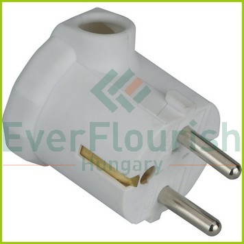 Grounded plug (plastic) lateral outlet, white 0115H