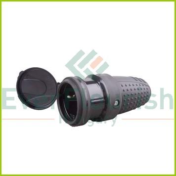 Földelt lengő csatlakozó aljzat (gumi) csapfedeles, fekete 0146H