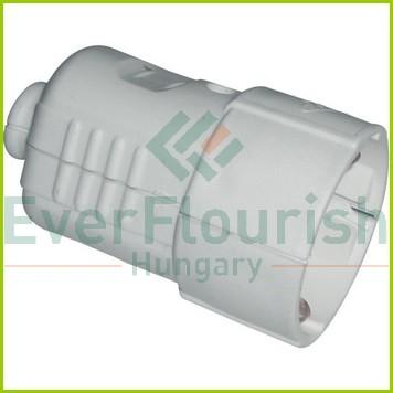 Földelt lengő csatlakozó aljzat (műanyag) középső kiv., fehér 0201H