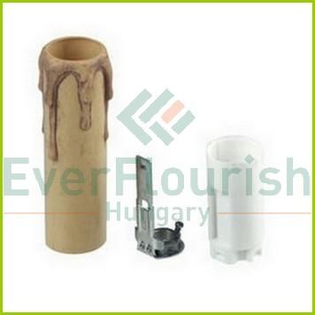 Gyertya foglalat, E14,  85mm, antik 03065