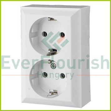 BUSINESS LINE 2way grounding-socket, surface mount, white, IP20 0311H