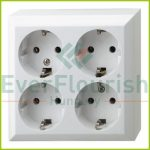 BUSINESS LINE 4way grounding-socket, surface mount, white, IP20 0313H