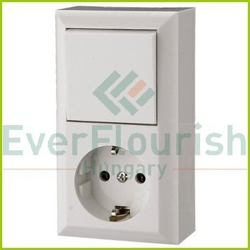BUSINESS LINE switch+socket surface mount, white, IP20 0314H