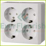 Nova surface mounted 4way grounded socket, white 0329H