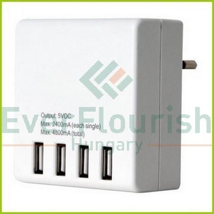 Földelt csatlakozó, USB 4-es töltőadapter 0431H