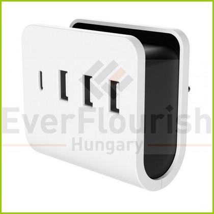 Földelt csatlakozó, USB 4-es töltőadapter 3xUSB-A+1xC telefontartóval 0435H