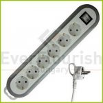 """Table socket 6way with switch """"Meridian"""", 1.4m, white/grey 0557H"""