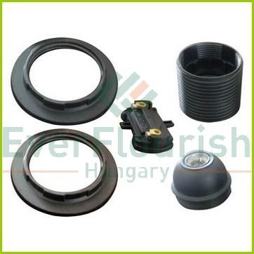 Foglalat E27, csillárfoglalat 2db gyűrűvel, fekete 0718H