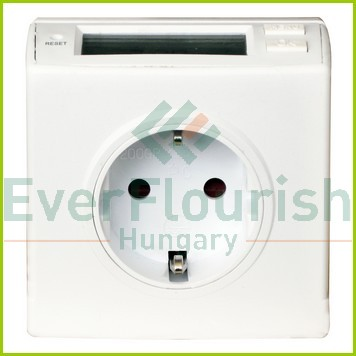 Energy measuring tool with grounded socket, compact, for 3 datas, white 0786H