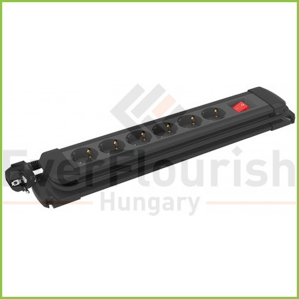 Multiple socket outlet with switch, 6way, 10/16A, 250V, 3x1.0mm², 2m, black 12435