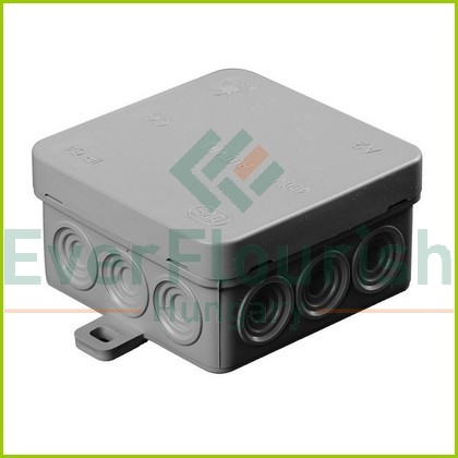 Surface-mount junction box with terminal strip, IP54, 75x75x37mm, grey 18430