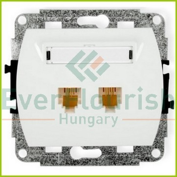 Trend Telephone connection socket 2-way,without frame, white 20804