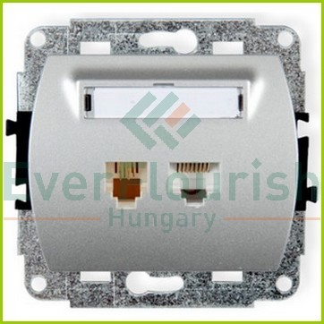 Trend Telephone+ISDN connection socket, without frame, silver 20893