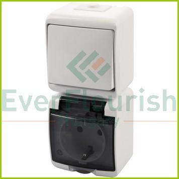 Aquastar Kapcsoló+dugalj, függőleges, fehér IP54 22021