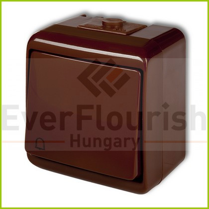 Aquastar push-switch csengő jellel, brown IP54 22061B