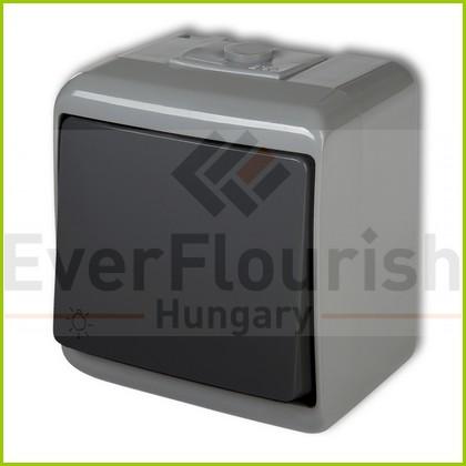 Aquastar nyomókapcsoló lámpa jellel, szürke/fekete IP54 22071SF
