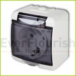 Aquastar socket with transparent hinged lid, surface mounted, IP44, white 22111