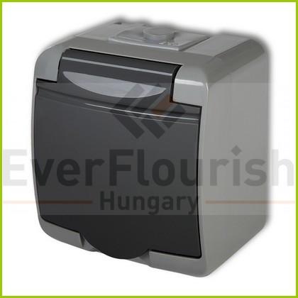 Aquastar hinged lid socket outlet, 1-es, grey/black IP54 22141SF