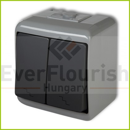 Aquastar dupla váltókapcsoló, szürke/fekete IP54 22171SF