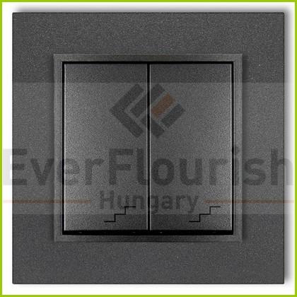 MINI dupla váltókapcsoló kerettel metál grafit 4119H