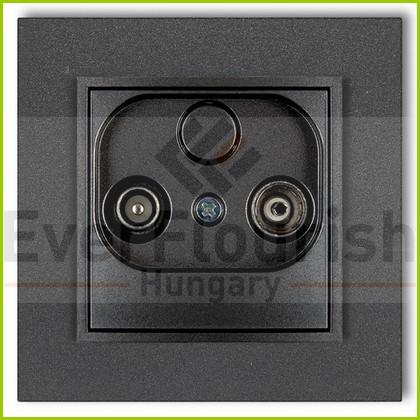 MINI TV aljzat (átmenő 9dB) kerettel metál grafit 4124H