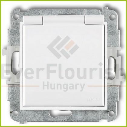 MINI egyes dugalj csapfedeles keret nélkül fehér IP44 4154H