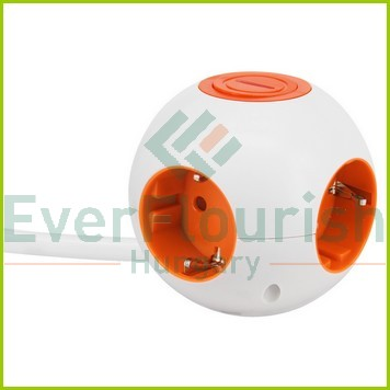 """Design socket outlet """"Power Globe""""with switch 4way, 3x1.5mm², 1.4m, white-orange 5998H"""