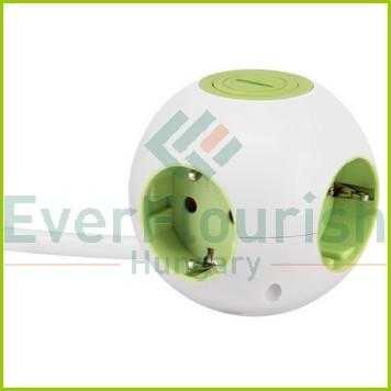 """Asztali elosztó """"Power Globe"""" 4-es kapcsolóval, 1.4m, fehér-zöld 5999H"""