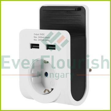 Földelt köztes csatlakozóaljzat, 2xUSB + mobiltelefon tartó 6005H