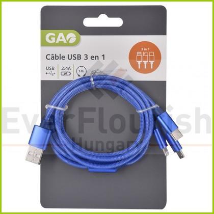 USB kábel 3 az 1-ben 1 méter 6084H