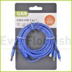 USB kábel 3az 1-ben 2.5 méter 6085H