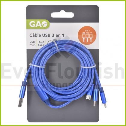 USB kábel 3 az 1-ben 2.5 méter 6085H