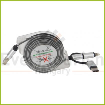 USB kábel 3 az 1-ben automata felcsévelővel, átlátszó 6093H
