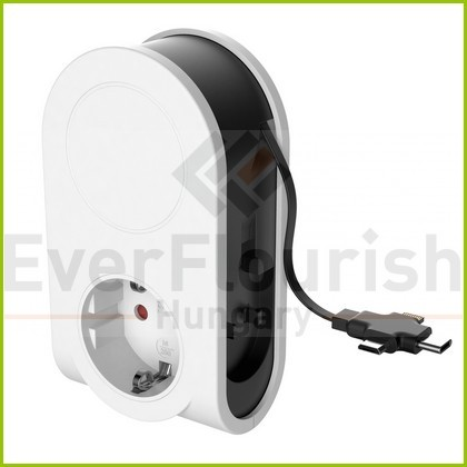 grounded köztes csatlakozósocket, USB sockettal + töltővel 6098H