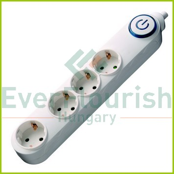 Table socket 4way, with switch, 2m, 3G1.0mm², white 6621H