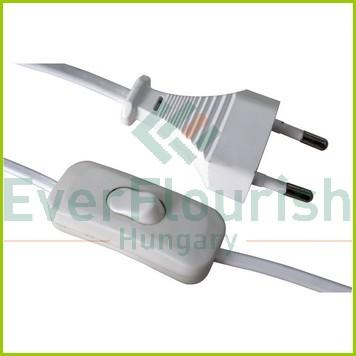 Csatlakozóvezeték euró dugóval, kapcsolóval, 1,5m fehér 6781H