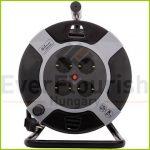Kábeldob, műanyag 50m, 4 dugalj 3x1.5 , fekete / sárga 6901H