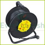 Cable reel, plastic 50m, 4way 3x1.5 , black-yellow 6901H
